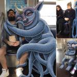 Este artista agrega divertidos monstruos a gente desconocida del subte