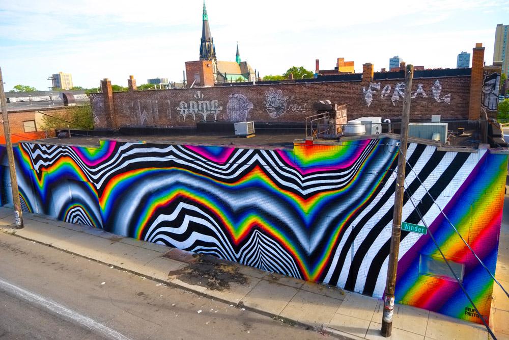 murales retrofuturistas combinan patterns con brillantes espectros de color. Black Bedroom Furniture Sets. Home Design Ideas