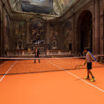 Una cancha de tenis instalada en el interior de un templo en Milán