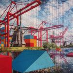 Pinturas que combinan paisajes con intersecciones geométricas