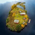 Espectaculares fotos aéreas de la isla Kotisaari durante las cuatro estaciones del año