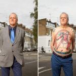 Retratos de personas tatuadas con y sin ropa puesta