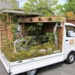 Espectacular concurso de jardines miniatura sobre camionetas en Japón