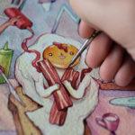 Misteriosos mundos y curiosos personajes pintados con acuarela
