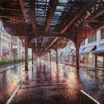 Múltiples perspectivas de paisajes urbanos combinados en estas pinturas