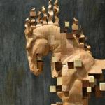 Esculturas de madera se disuelven en cubos pixelados