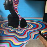Murales monocromáticos con capas de colores concéntricos