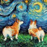 Artista reimagina la Noche estrellada de Van Gogh agregandole perritos