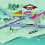 Líneas de tren en 3D en la gráfica de Ogilvy Barcelona para Ferrocarrils de Catalunya