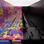 Un casamiento en una galería de arte: mitad negro, mitad multicolor